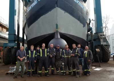 Some of the staff and crew of Commodore's Boats that participated in the sponson/ bulbous bow project.