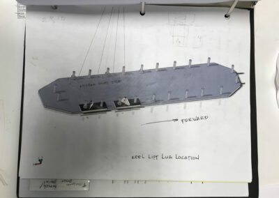 Schematic drawing of the top of the keel showing the placement of the moveable lifting lugs when the bulb is attached.